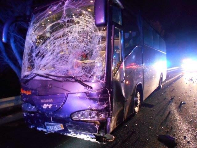 Il bus che ha travolto l'auto di Jerry Collins
