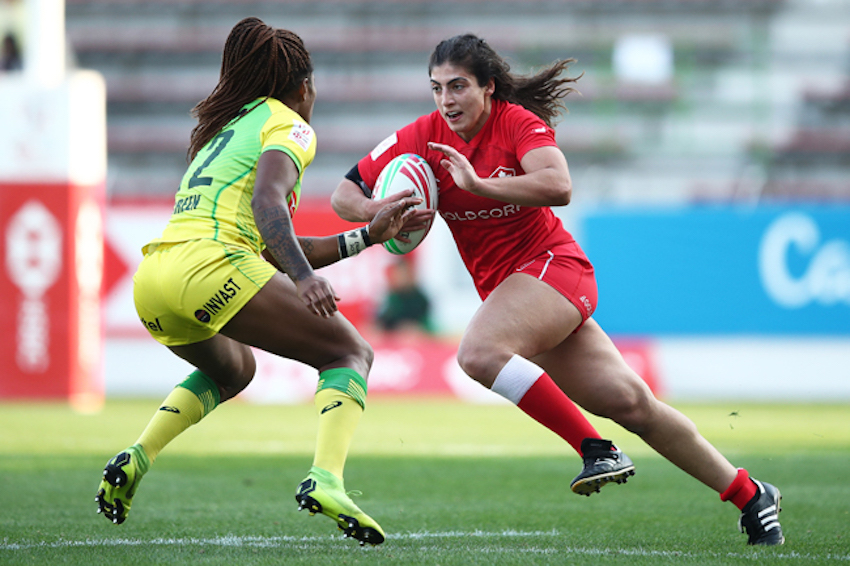 Canada's Bianca Farella charges against the Australia defense on day one of the HSBC World Rugby Women's Sevens Series in Kitakyushu on 20 April, 2019. Photo credit: Mike Lee - KLC fotos for World Rugby