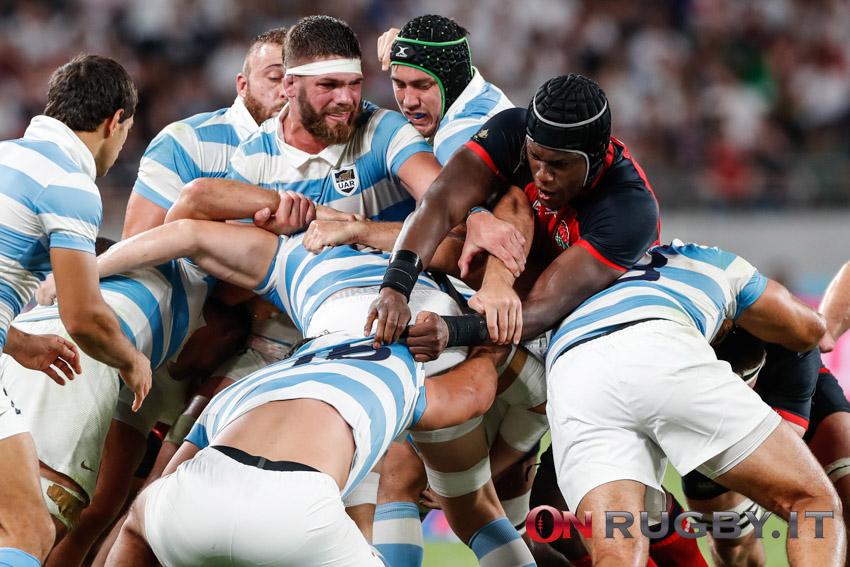 Maro Itoje in azione alla Rugby World Cup 2019
