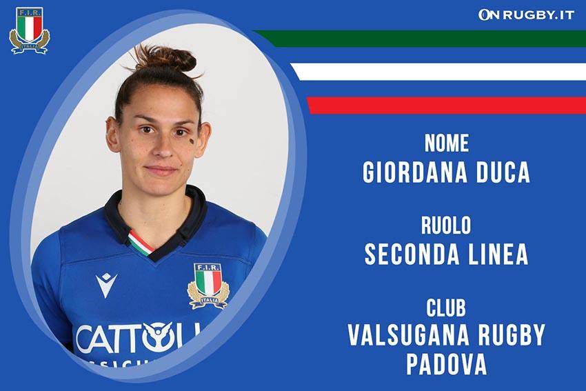 Giordana Duca-Rugby-Nazionale Femminile