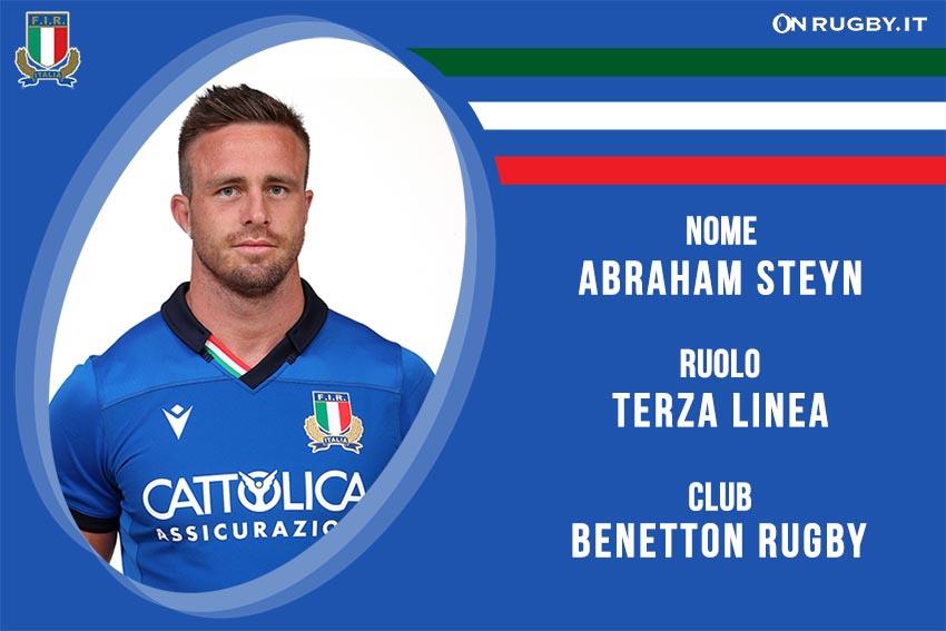Abraam Steyn nazionale italiana rugby - Italrugby