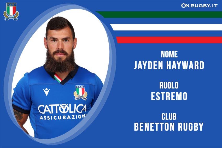 Jayden Hayward nazionale italiana rugby - Italrugby