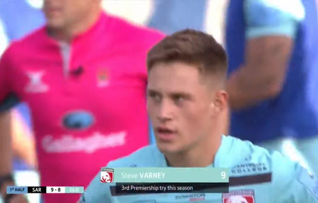 Stephen Varney dopo la sua terza meta in Premiership