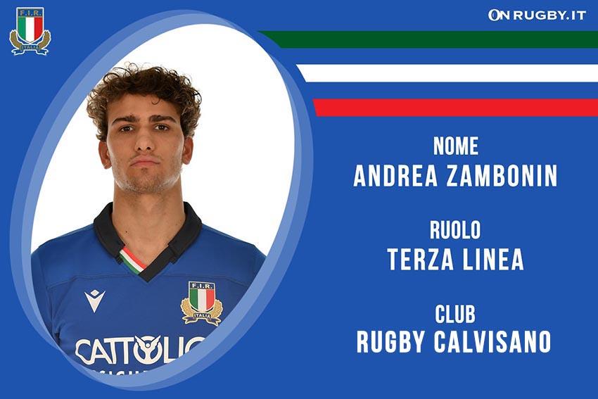 Andrea Zambonin rugby nazionale under 20