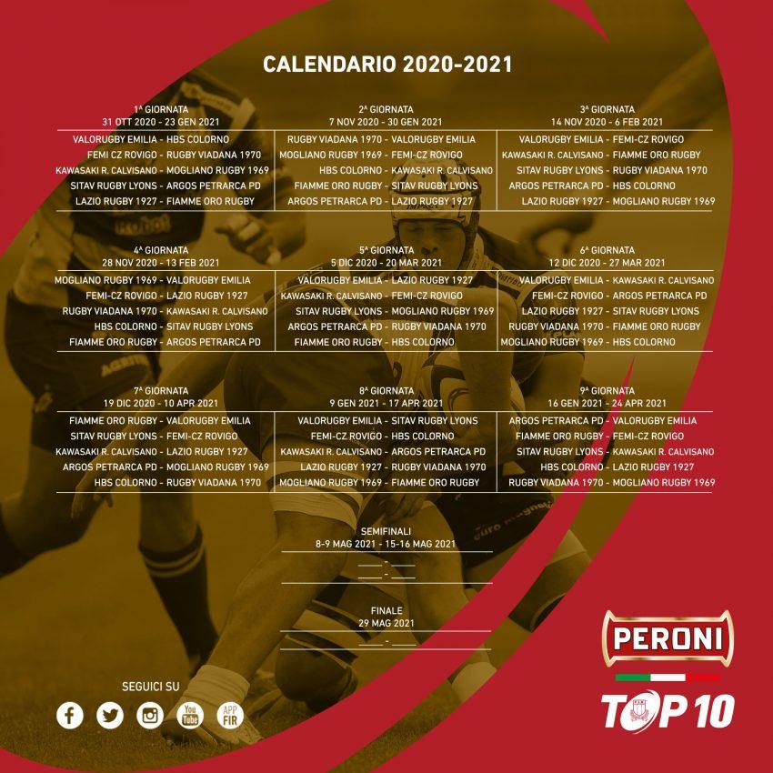 Rugby   Top10: il calendario dell'edizione 2020/2021