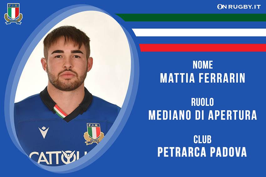 Mattia Ferrarin rugby nazionale under 20