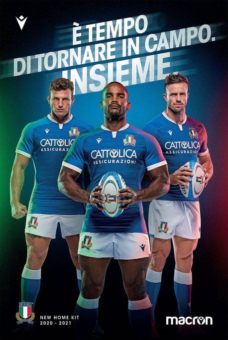Maglia Macron Nazionale Italiana Rugby 2020/2021 - Home Kit - azzurra