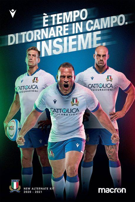 Maglia Macron Nazionale Italiana Rugby 2020/2021 - Alternate Kit - Bianca