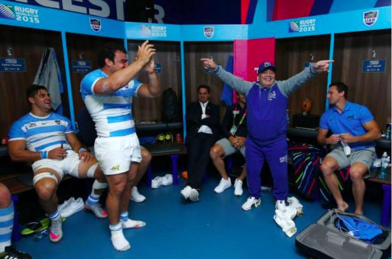 Diego Armando Maradona nello spogliatoio dell'Argentina