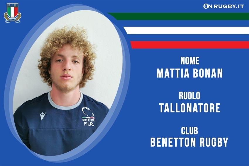 Mattia Bonan Nazionale italiana Rugby Under20
