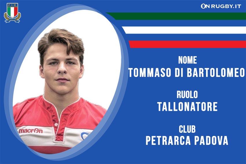 Tommaso Di Bartolomeo Rugby Nazionale italiana Under20