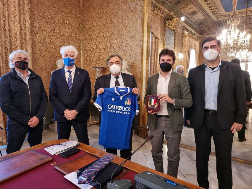 Il Presidente Marzio Innocenti ha incontrato il Sindaco di Palermo Leoluca Orlando (PH: Federugby)
